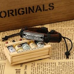 """Believe"" armbånd i Faux læder"