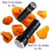 UV Ravlygte med 9 eller 21 lysdioder